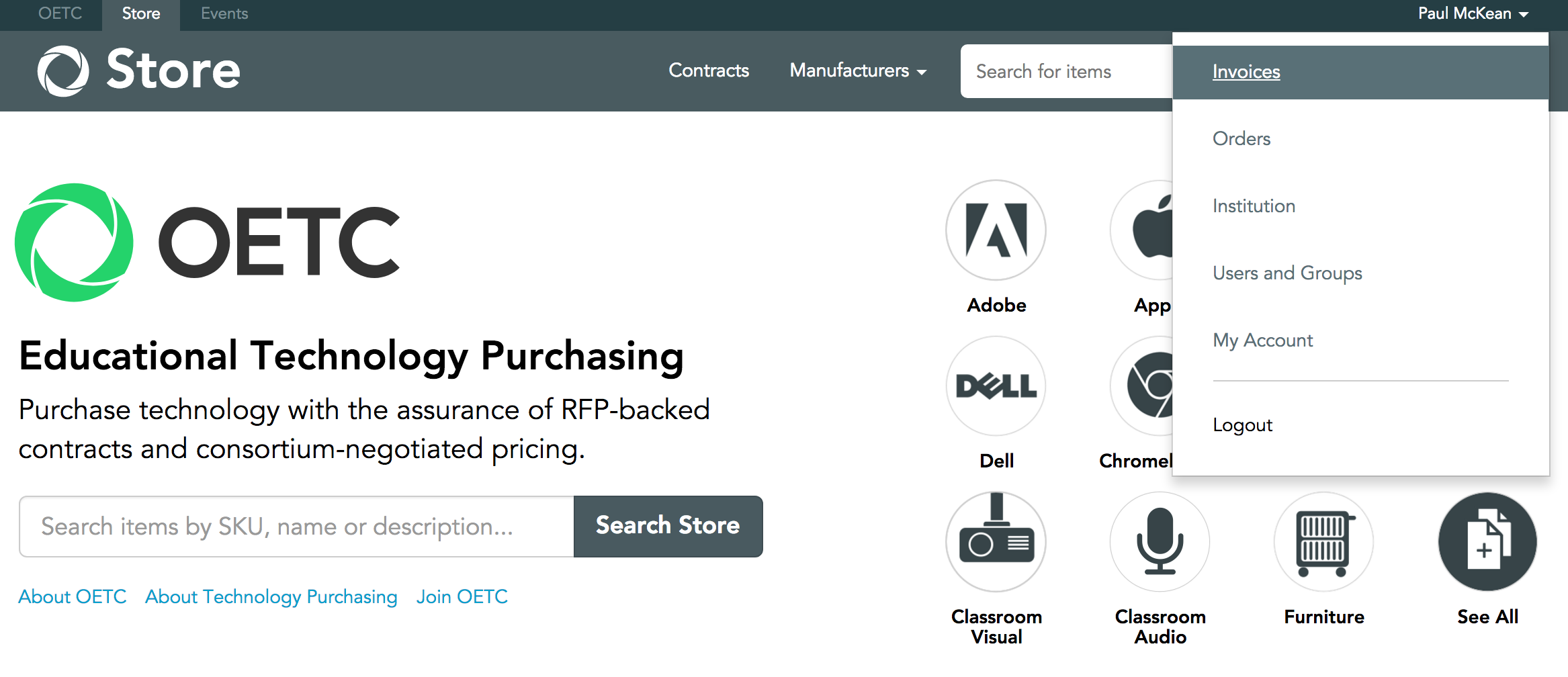 View your invoices on the OETC Store