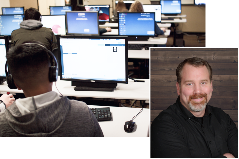 Left: Students work in a lab at Silverton High School, which offers extensive programming and CS classes. Right: Silver Falls School District Technology Director Drew Hinds.