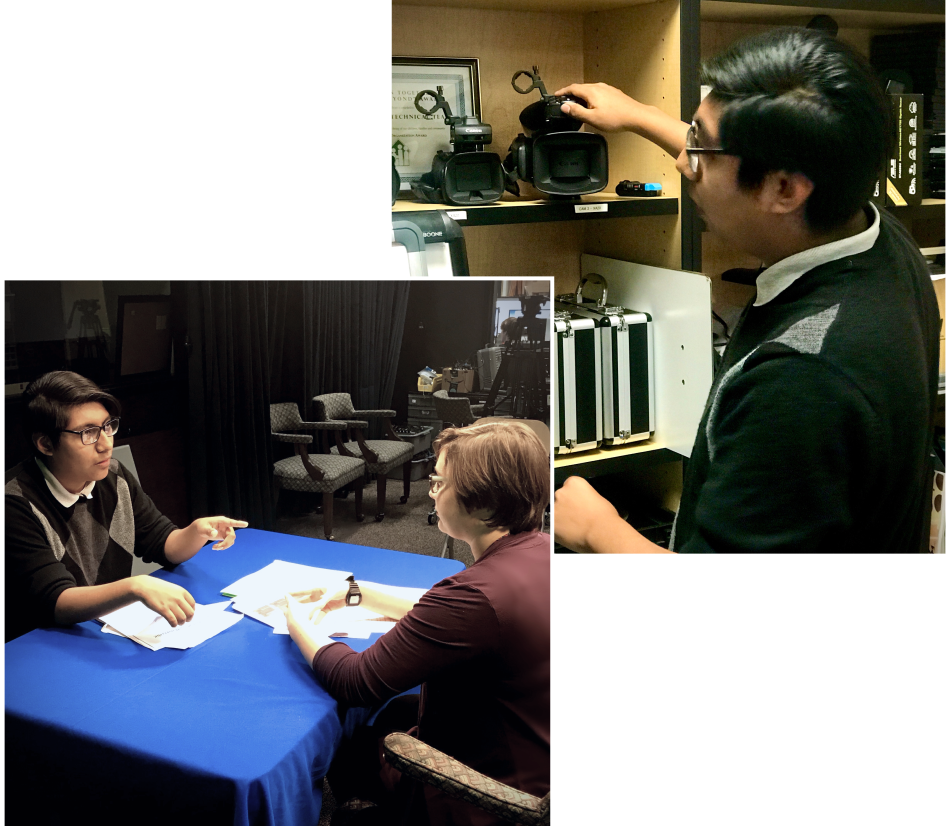 Left: Junior Daniel Vasquez, who is the student production manager at SCAN TV discusses upcoming programming with multimedia assistant Maddy Traver. Right: Vasquez organizes equipment in the small studio.