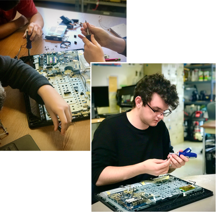 Left: Students in a hardware computer science class work collaboratively to disassemble, test and re-assemble an all-in-one desktop computer. Right: Junior Austin Hudson estimates that the process would take him around an hour and a half.
