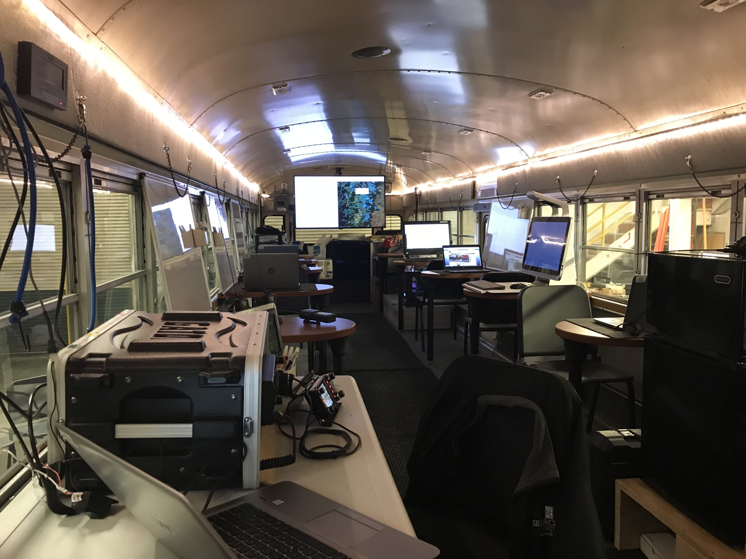 When used in an emergency, there is space for 12 to work inside the bus. As a mobile STEAM lab, there's room for 15 kids to learn.